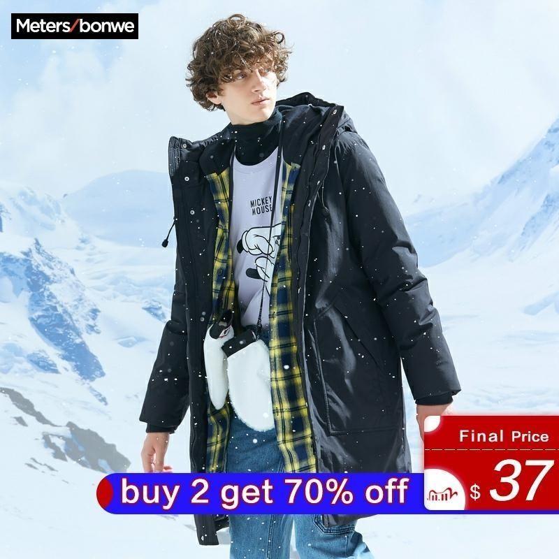 Metersbonwe густая куртка мужская зимняя теплая 80% серая утка вниз пальто красавного пальто подкладки с капюшоном
