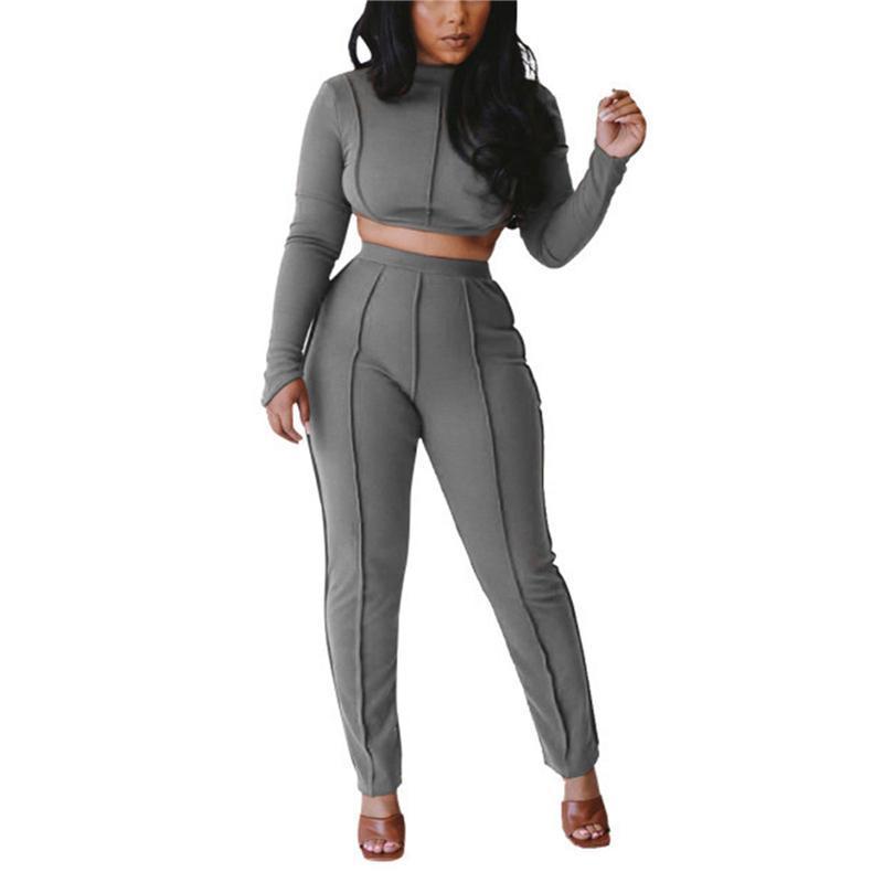 Set Long Sleeve Top Curto Calças Lápis 2020 das mulheres terno desgaste ativo Treino Two Piece Set Outfits Fitness Senhoras Sweatsuit