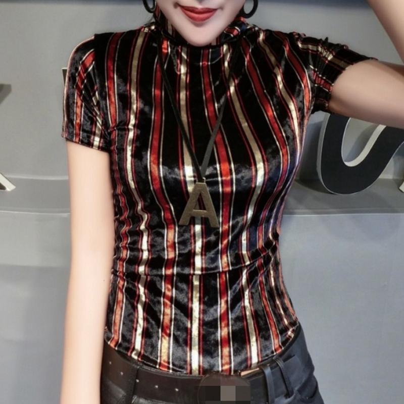 Mode 2020 vêtements d'été européens à col roulé Pleuche Imprimer T-shirt rayé pour femmes hauts Ropa Mujer talonnage T-shirt T02214 A1112