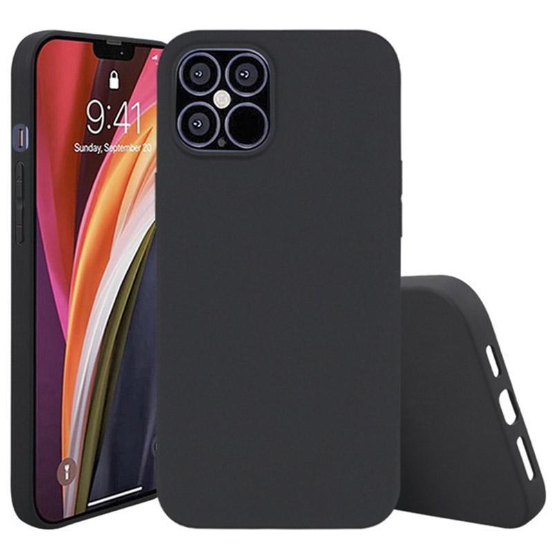 TPU della cassa del telefono di iPhone 12 11 Mini Pro MAX XS XR 8 7 Plus Samsung S20 FE morbido nero opaco della copertura di caso
