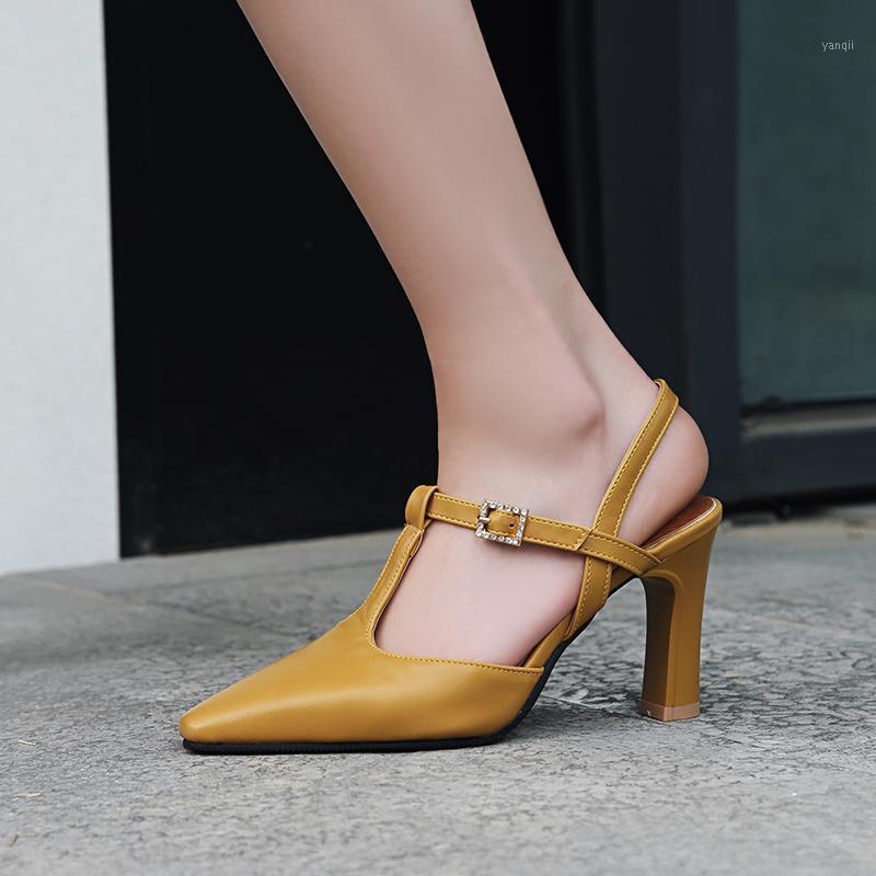 Сандалии 2021 Женская Летняя пряжка Высокие каблуки Толстый каблук Ретро Квадратная Голова Римская Обувь1