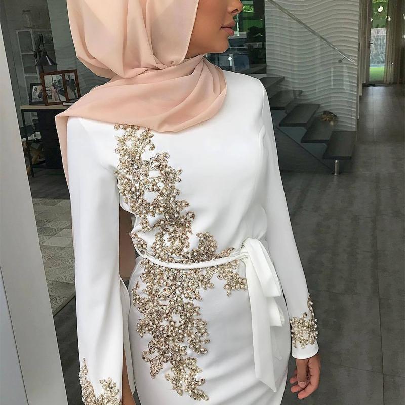 Ropa étnica Mujeres Musulmán Dubai Abaya Manga larga Maxi Vestido Floral Encaje Beading Hijab Kaftan