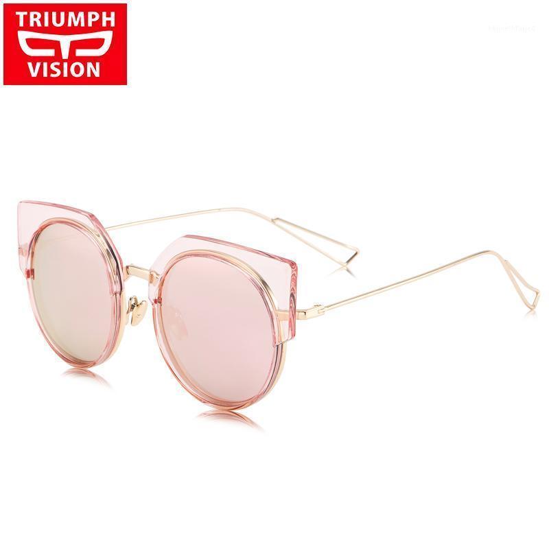 Vision Sunglasses Femmina Cat Eye Gloves Trend Bicchieri da sole per le donne Lente rotonda Oculos Summer UV400 Protezione Lunette1