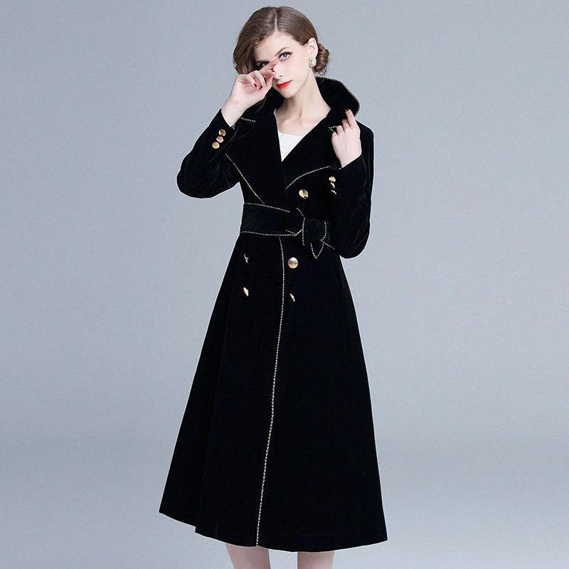 Frauen lange Windjacke einfach sexy klassische dünner Goldrand Anzug Kragen mit langen Ärmeln bis Taille Sexy Dame Mantel FwNI # anziehen