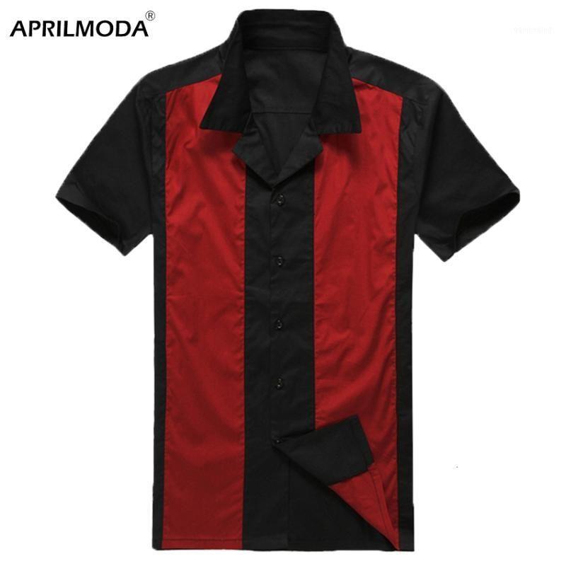 Camicie casual da uomo 2021 manica corta estate mens spiaggia hawaiana 50s 60s cotone patchwork nero retrò rockabilly abbigliamento1