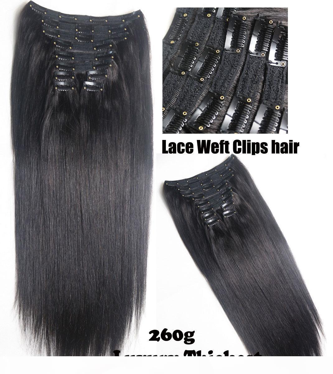 "İnsan Saç Uzantısı 10pcs seti Dantel Çift Atkı Tam Kafa 250g 300g 350g 400g üzerinde 20 ""-28"" % 100 Brezilyalı Remy İnsan saçı Klipler"