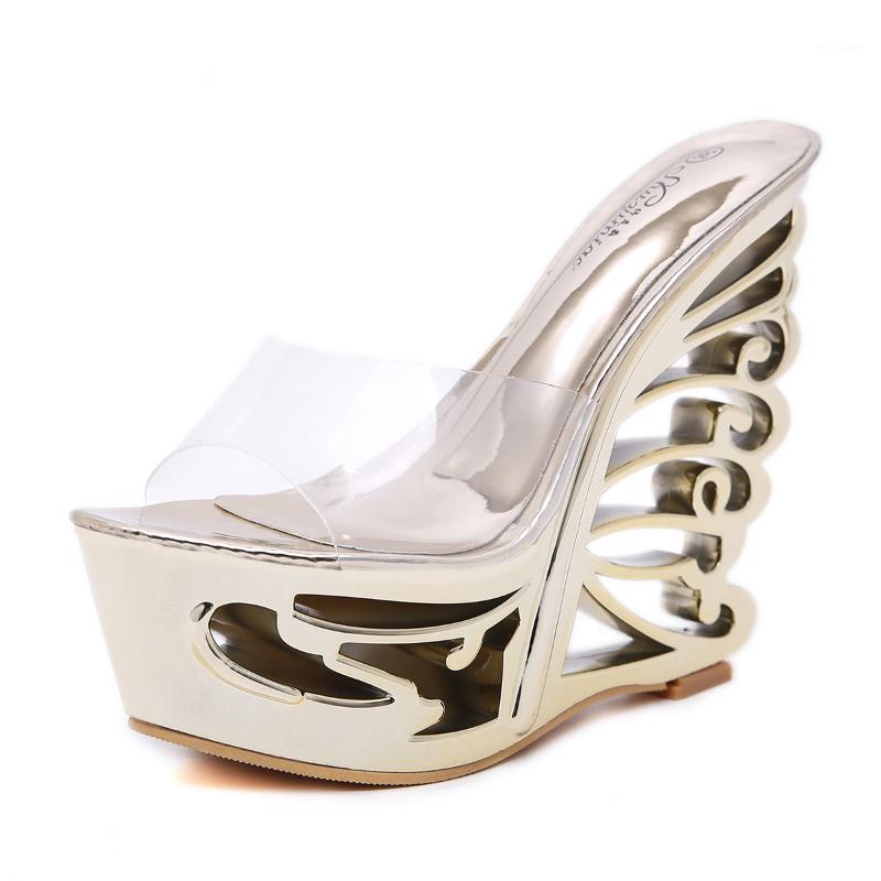 Été 14.5cm Super High High Heel Femmes Sandales Sandales anormales Coin PVC PVC Pompes Transparent Grande taille 34-41Sexy NightClub Shoes1