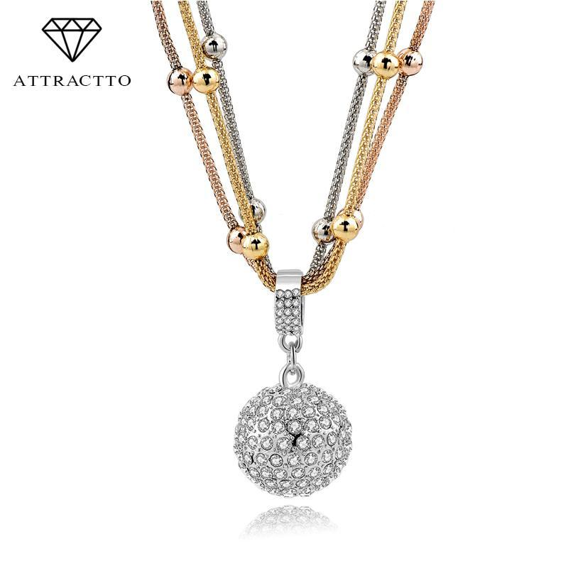 Ketten anziehen zu Frauen Lange Halskette Goldkette Vollrhinestone Ball Anhänger Benutzerdefinierte Halsketten Drop Sne140451
