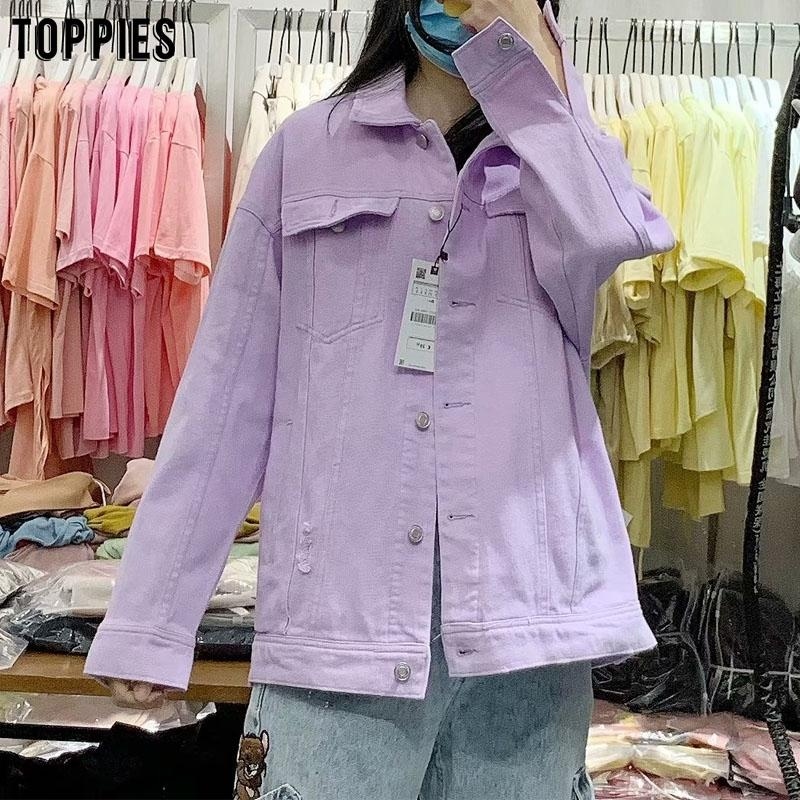 toppies fashion violet denim jackets womens ripped hole jeans jacket coat loose oversize coat 201021