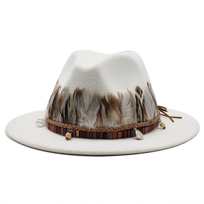Широкие шляпы Breim Brand Мягкая шерсть войлочная Флоппи Федора для женщин Мужчины Snake Skin Jazz Cap Lady Simple Panama Hat