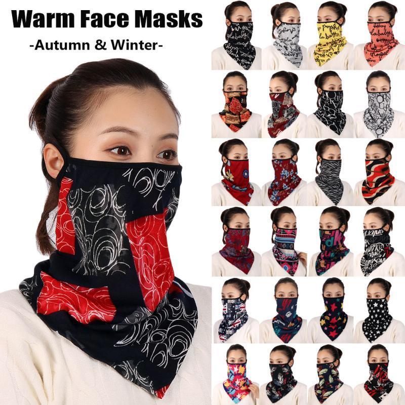 1 ADET Kadın Baskı Sıcak Yüz Eşarp Sonbahar Kış Rüzgar Geçirmez Maske Yürüyüş Bandana Fular Pamuk Yumuşak Boyun Atkılar Halka Sarar Kapak