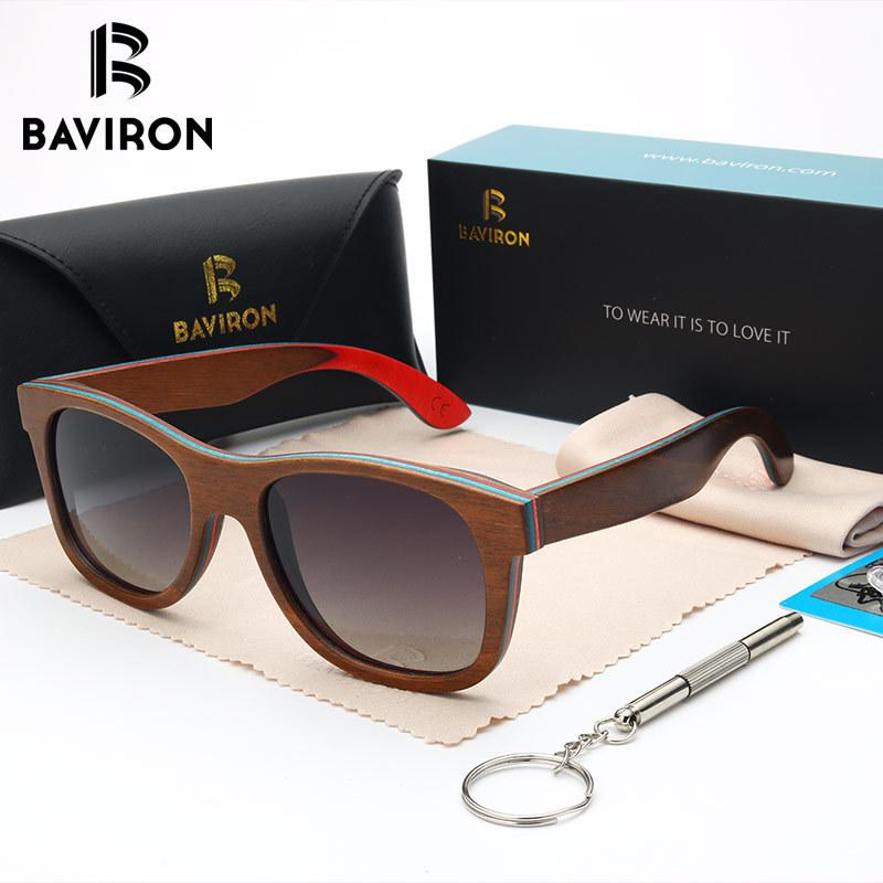 BAVIRON 100% Real Wooden Sunglasses Colorful Women Wood Sun Men Polaroid Anti Reflection High Quality Cool Glasses 0785