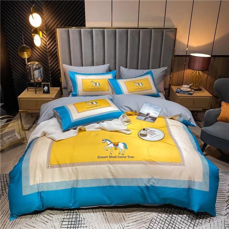 Ensembles de literie de coton de coton de luxe Ensembles de lit Queen-lit en hiver jaune et bleue Ensembles Literie d'hiver de luxe à salage chaud