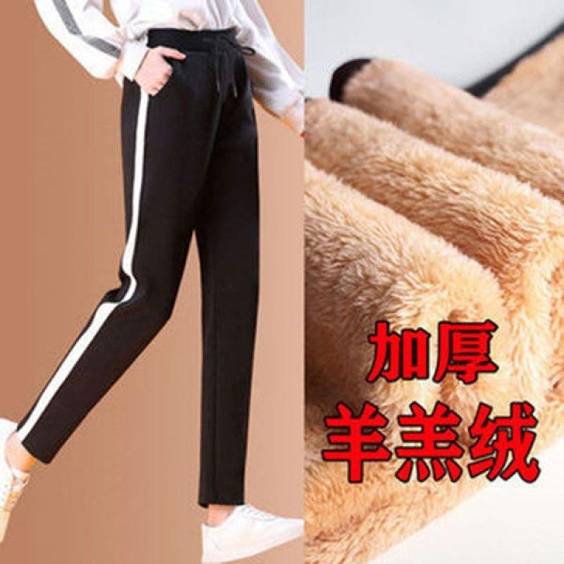 Outono inverno pelúcia e espessado lazer esportes tamanho grande solto, calças de algodão, calças retas, calças femininas