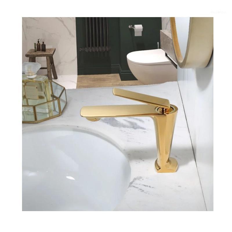 Badezimmerhahn Schwarzer Waschbecken Wasserhahn Kalt- und Warmwasser-Mixer-Waschbecken-Tap Single-Griff-Deck montiert hohe / kurze Tap1