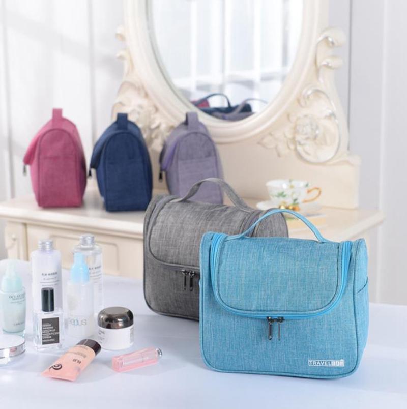 Bolsa de maquillaje Hombres Mujeres Oxford Bolsas cosméticas de gran capacidad Bolsa de aseo a prueba de agua ORGANIZADOR DE ALMACENAMIENTO DE VIAJE 6 COLORES YG829