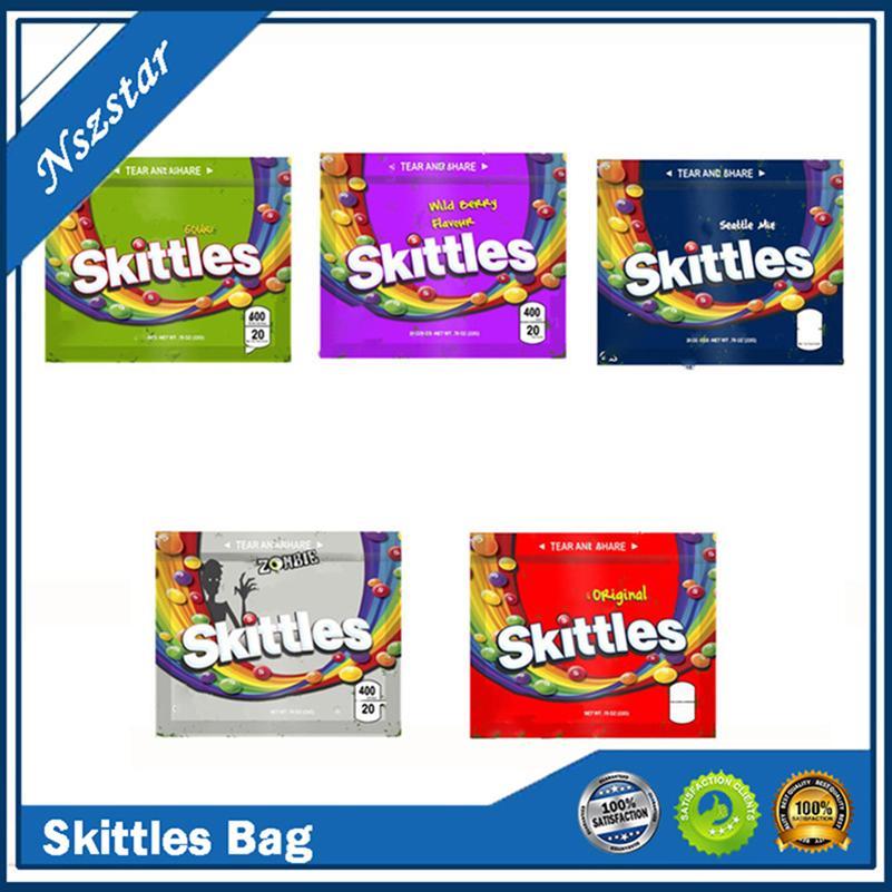 Skittles 400mg Mylar Çanta Boş Ekşi Fermuar Çanta Ambalaj Kılıfı Yemekleri Paketi Gummies Depolama Perakende