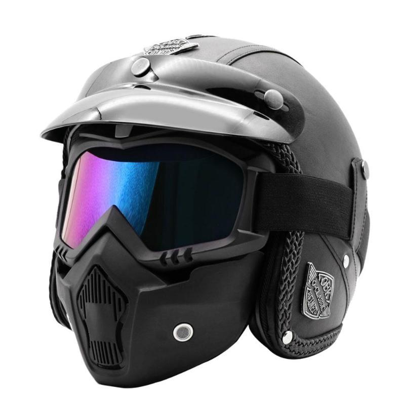 Кожа PU 3/4 Open Face Motorcycle Chopper велосипед шлем с Goggle маски Велоспорт Оборудование Велоспорт Caps