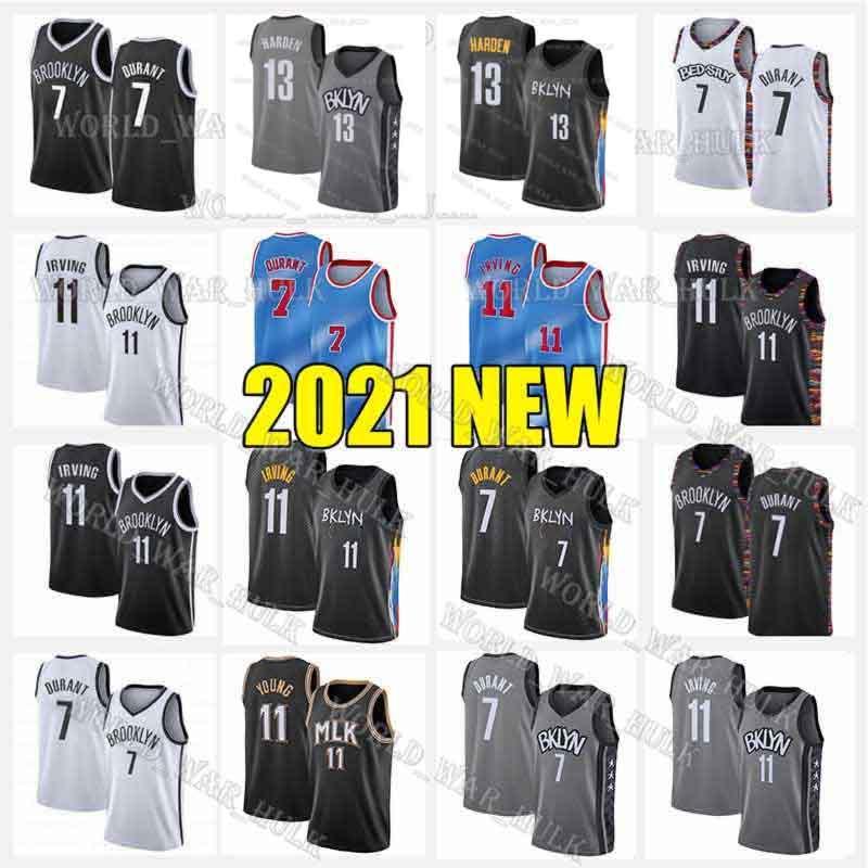 Kevin 7 Durant 13 Harden Irving Jersey Trae 11 Jovem Kyrie Mens Juventude Branco Branco Tamanho Vermelho S-XXL 2020 2021 Novas jerseys de basquete