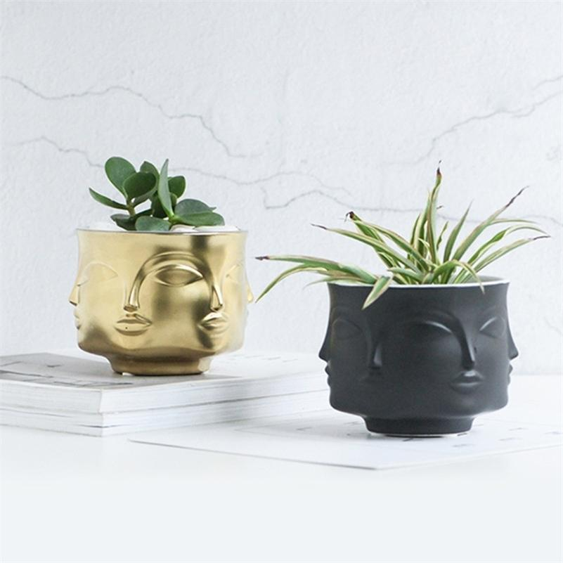 Человек лицо цветок ваза домашних украшений аксессуары современной керамической вазы для цветов горшки плантаторы lj201210