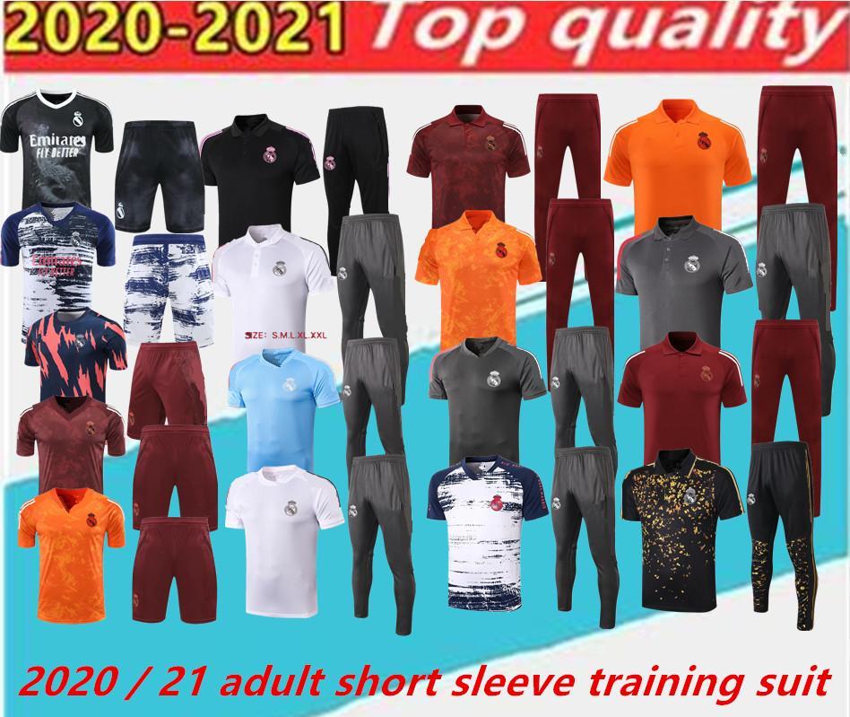 2020 2021 Gerçek Madrid Erkekler Futbol Polo Gömlek Seti. Chandal Yetişkin Futbol Koşu Eğitim Takım Elbise, Kısa Kollu Eğitim Takım Elbise, Nefes, Ter