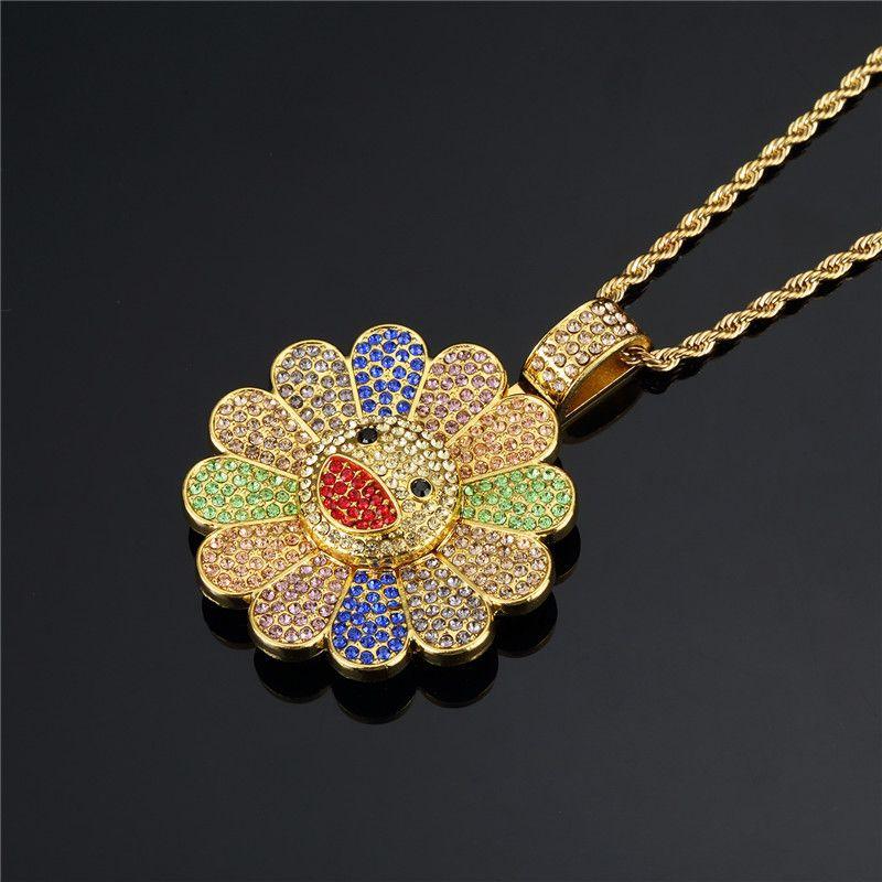 4.5cm Trendy TAKASHI Kaikai Kiki strass Pendentifs Rotatif Diapo Tournesol Pétale décoratif Vêtements collier pendentif Sac