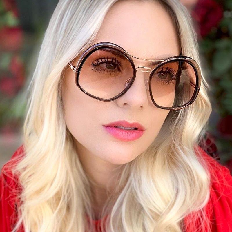 cornice rotonda sole nuovo doppio trave metallica irregolare eqApG 95206 donne alla moda Occhiali versatili occhiali