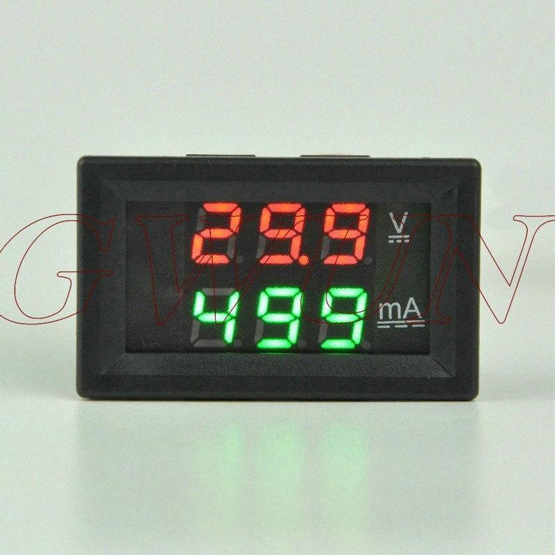 GWUNW BY32A 0-200V 0-999mA (1A) DC Цифровой амперметр напряжение тока метр тестер вольтметр Двойной дисплей Красный Синий, зеленый, желтый светодиод gEK4 #