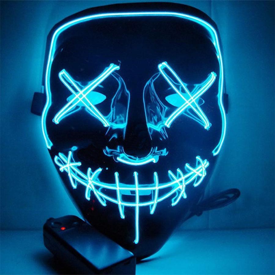Halloween Horror маска LED Светящиеся маски Purge Маска Выборы Тушь Костюм DJ Party Light Up Маска Glow В Dark 10 цветов Быстрый женщина