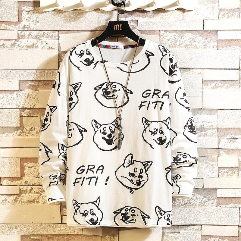 2021 Новая Осень Мода Весна негабарита Негабарита Мужская Печатная футболка с длинным рукавом рубашка шеи для человека Top T 9n3J