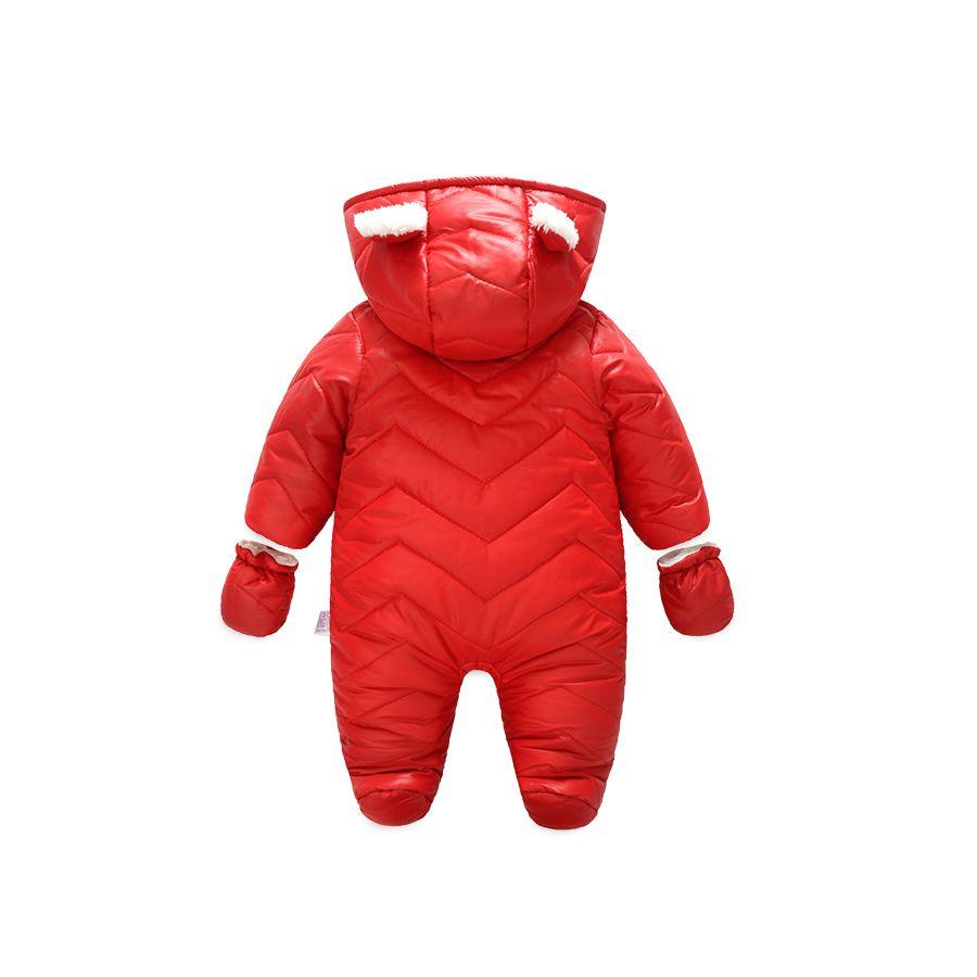 LittleSpring Newborn Snowsuit Hooded Jumpsuit Winter Warm