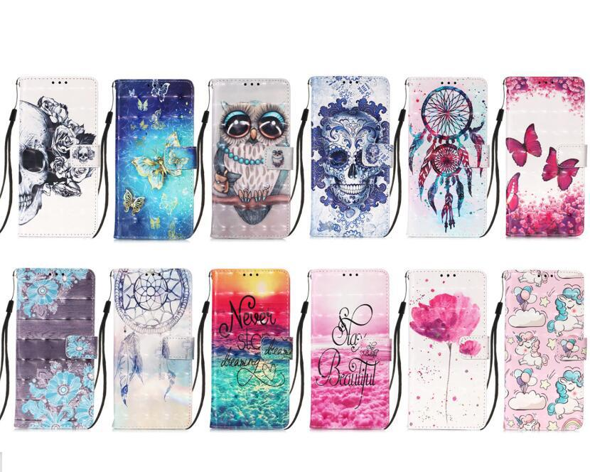 3D Bling Cartoon Brieftasche Lederfälle für Samsung Xcover 5 A02 A32 4G S21 Plus Ultra 5G A12 A02S Gurt Flip Flower Eule Schädelständer TPU Telefonabdeckung