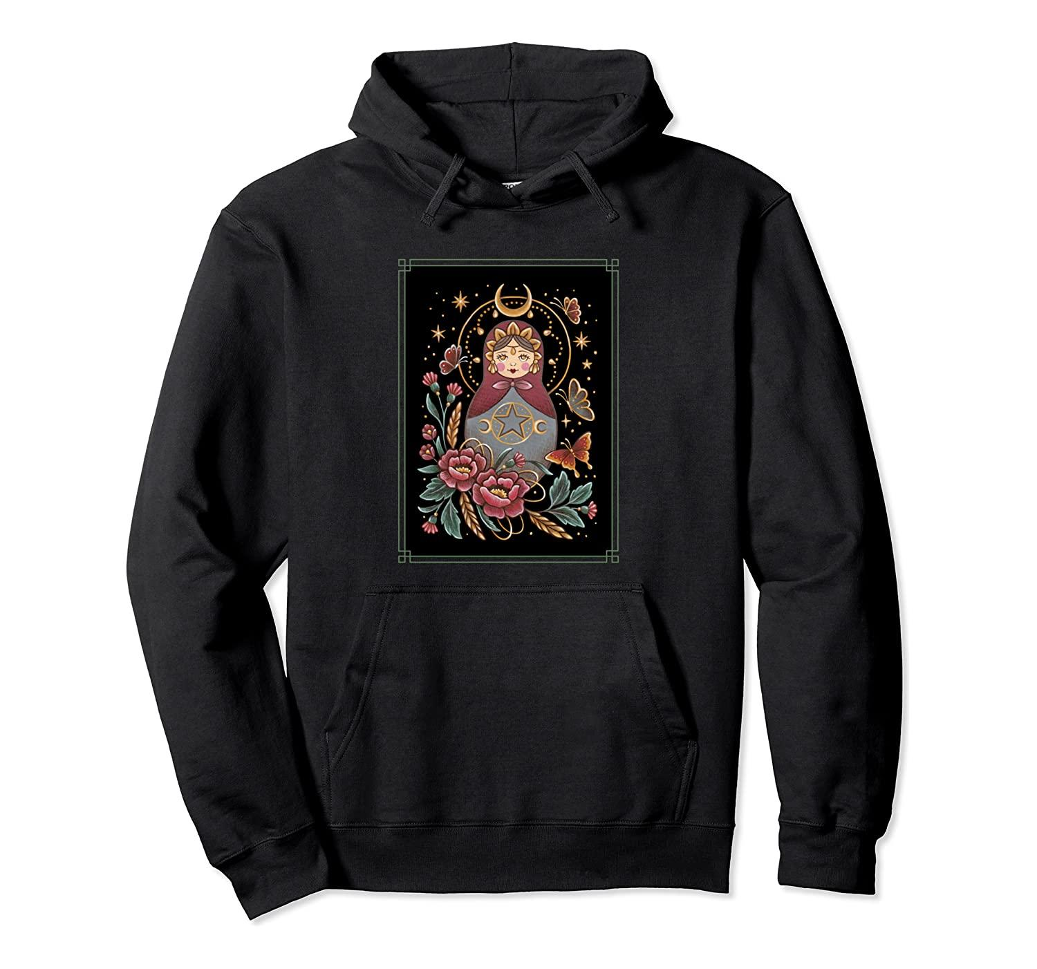 Matryoshka Russian Nesting Doll Pullover Hoodie Unisex Size S-5XL with Color Black/Grey/Navy/Royal Blue/Dark Heather