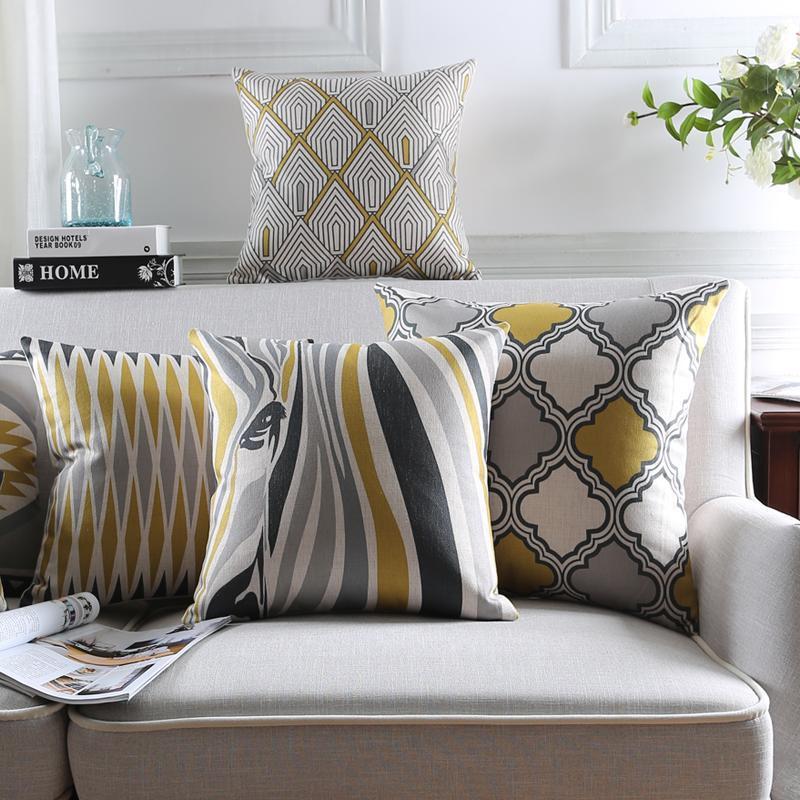 style scandinave Housse de coussin Home Décor géométrique Housse de coussin décoratif Les coussins Zebra Throw Cas Jaune Gris Taie