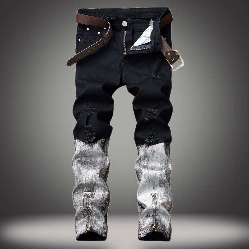 Мужские джинсы 1J вырезать отверстия европейские и американские внешнеторговые брюки нога молния покрыты хорошее качество оптом