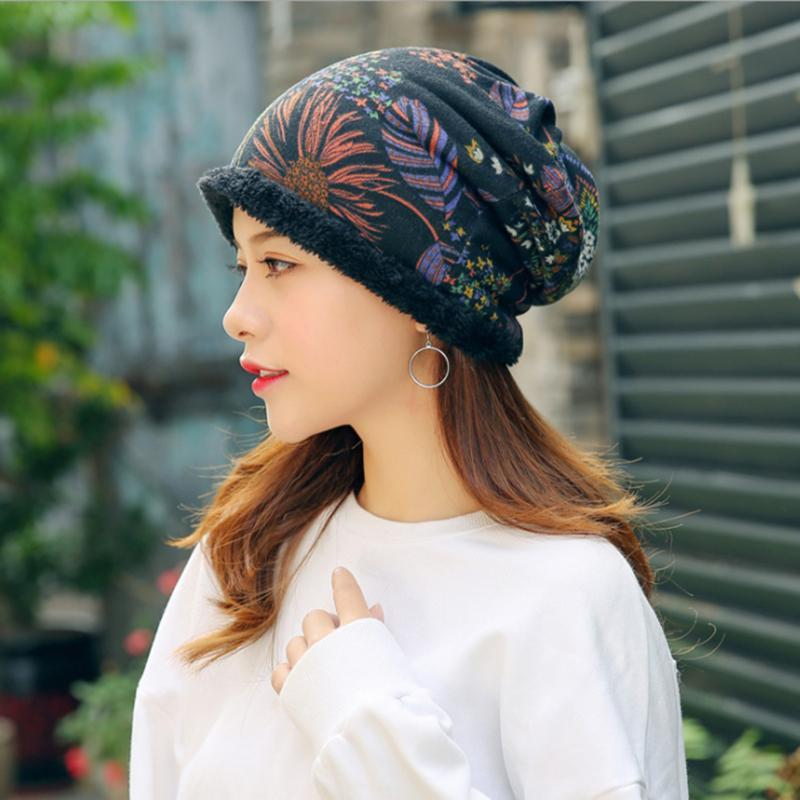 Winter Fashion Knitted Hat Women Creative Printed Casual Beanie Cap Windproof Thick Warm Hedging Cap
