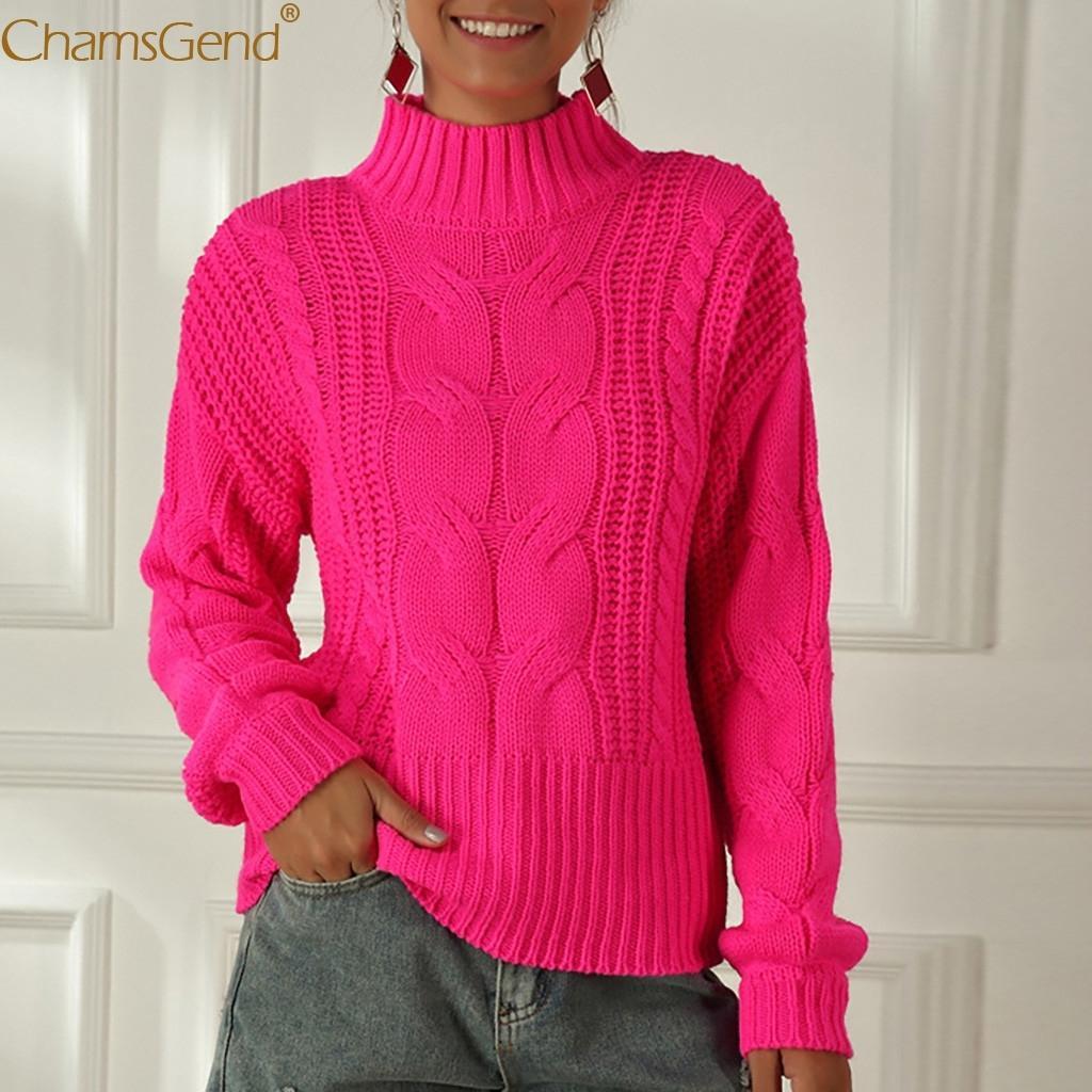 Толстые Вязаная Перемычки для Pink Сыпучие с длинным рукавом Зимний свитер женщин пуловер Октябрь