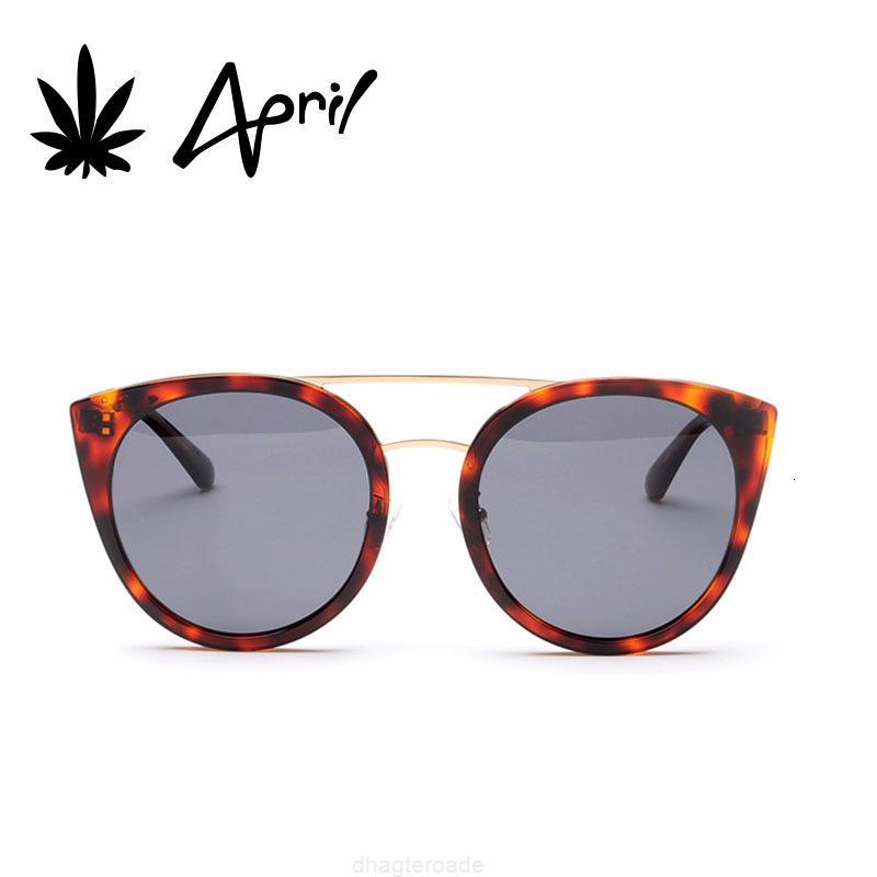 Женская апрельская кошка Новая мода Trend Trend Metal Plate Frame Солнцезащитные очки