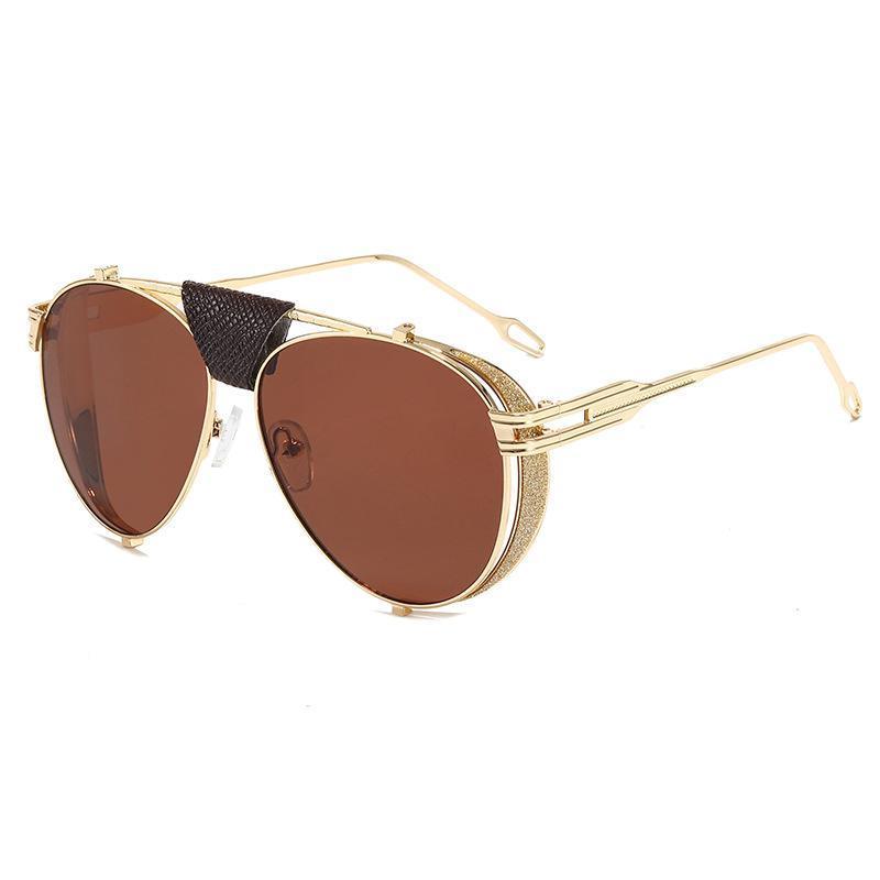 Ретро складные стимпанк пилотные солнцезащитные очки для женщин мужчин бренд дизайнер PU кожаные заклепки панк солнечные очки UV400