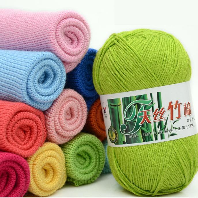 50g Natural Bamboo Cotton Yarn Soft crochet yarn Baby Yarn Crochet for knitting Wool scarf Hand Knitting DIY Sweater C1030