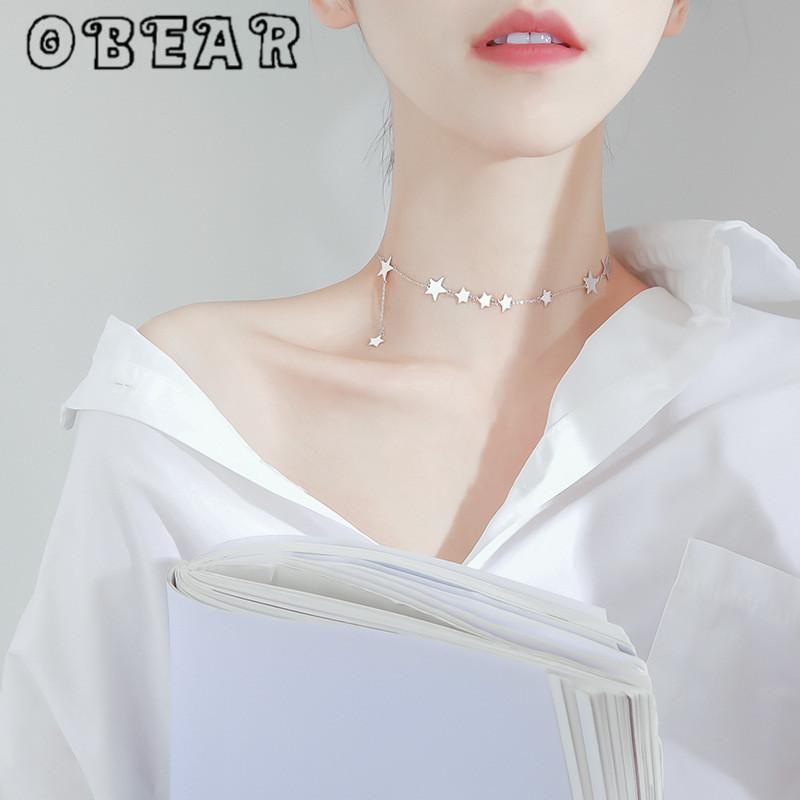 Ofear Silver Plated Plaqué Romantique Multi Star Collier Dainty Silver Couleur Collier de la clavicule courte pour femmes Accessoires de mariage