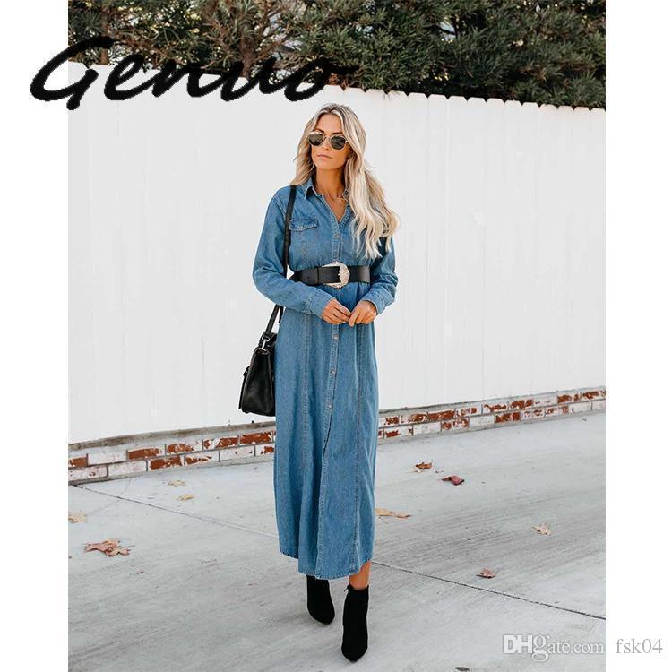 Le nuove donne annata di modo X- lungo Denim Trench con i telai signore Turn-Giù colletto Jeans allentati casuali Windbreaker Outwear