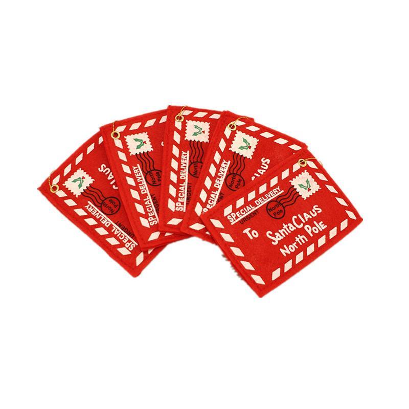 Быстрая доставка Рождественская елка Подвеска Нетканые Рождество Конверт Креатив карты украшения Свадебные Рождественские украшения Красный конверт F7302