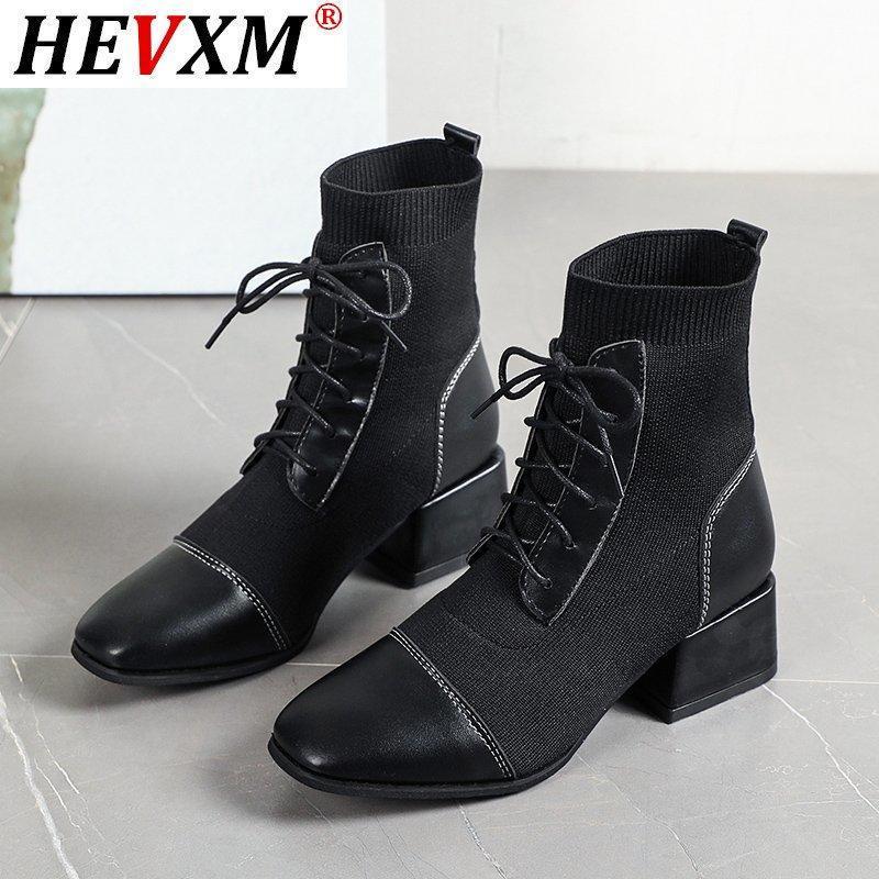 Ankle Mulher Botas Lace Up Calçados Quadrado Preto Heel Casual Couro Botas Moda Botas Mujer malha Sock Plue Tamanho 42