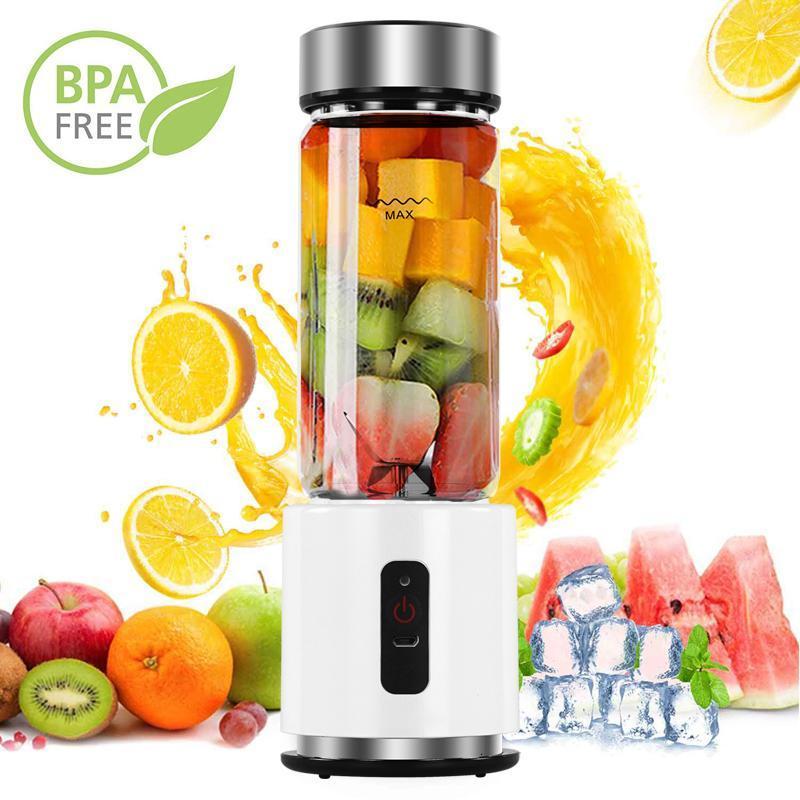 BPA FREE USB Şarj edilebilir Smoothie Blender Pil Kişisel 380ml Cam Smoothie Blender Meyve sıkacağı Kolay Küçük Taşınabilir
