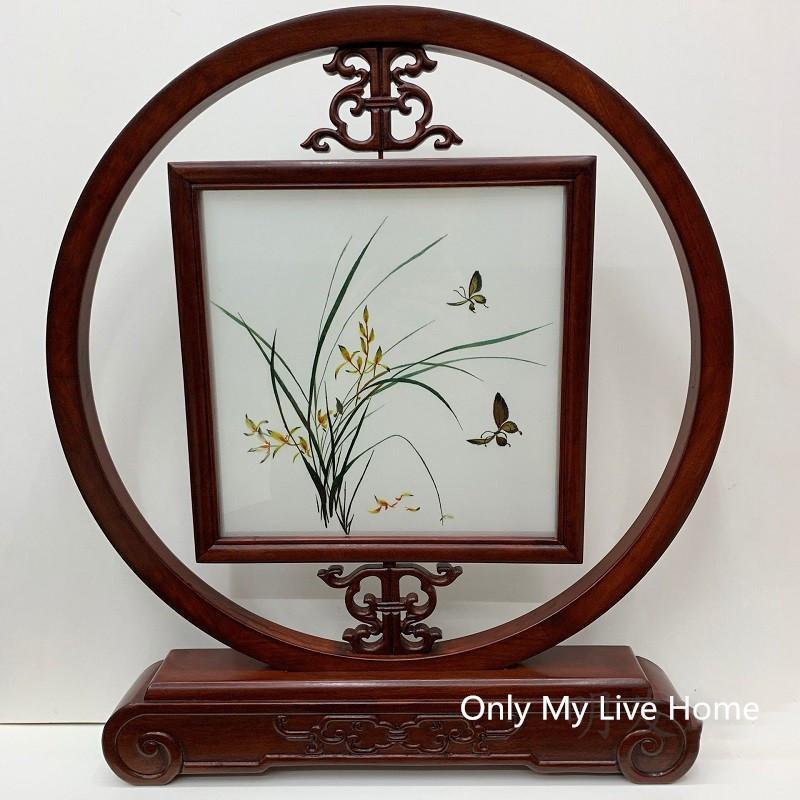 KOSTENLOSE DHL Chinesische Dekorationen Büro Wohnaccessoires Tisch Ornamente Hand Seide Stickerei Muster Bubinga Holz Rahmen Hochzeit Geburtstagsgeschenk