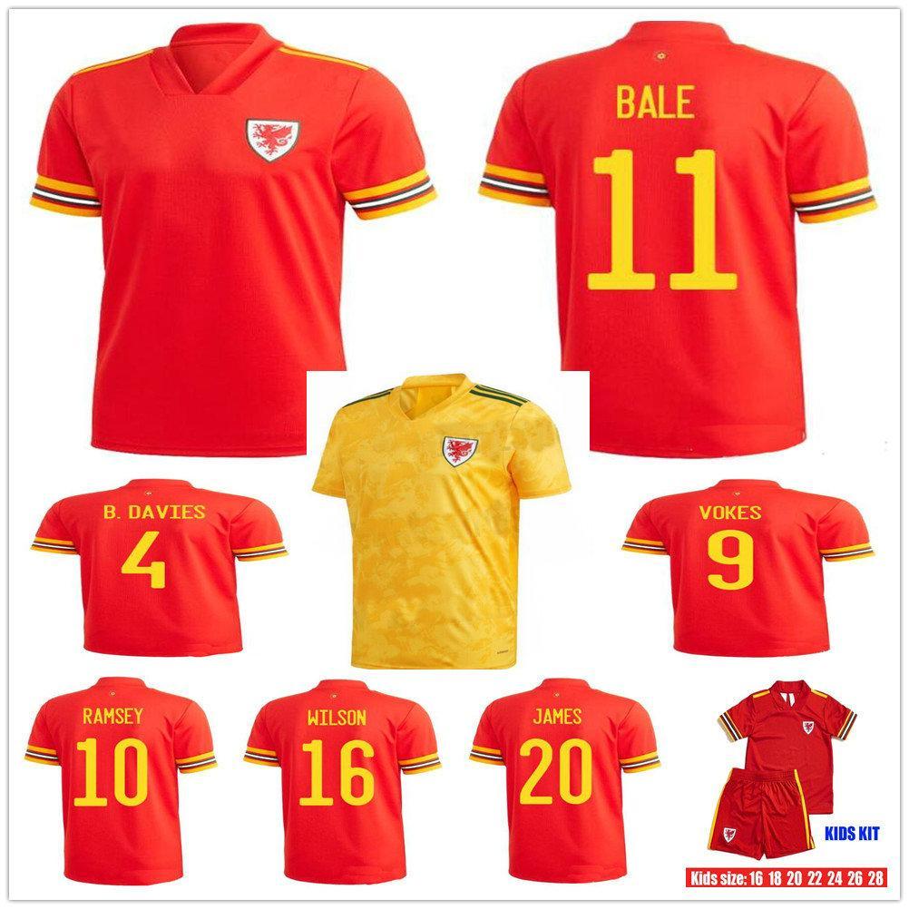 Yetişkin Çocuklar 2020 2021 Galler Balya Futbol Formaları McGinn Lewis Shankland Findlay 20 21 Eve Uzakta Ulusal Takım Futbol Gömlek Üniformaları