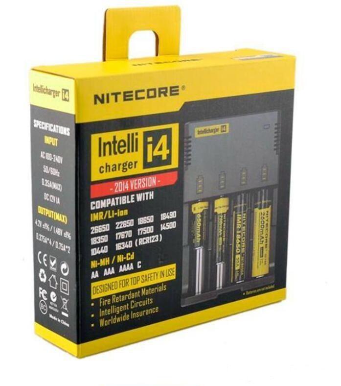 cargador de batería electrónica cigaretters NUEVO Nitecore I4 Cargador universal e cigs para 18650 18500 26650 I2 D2 D4