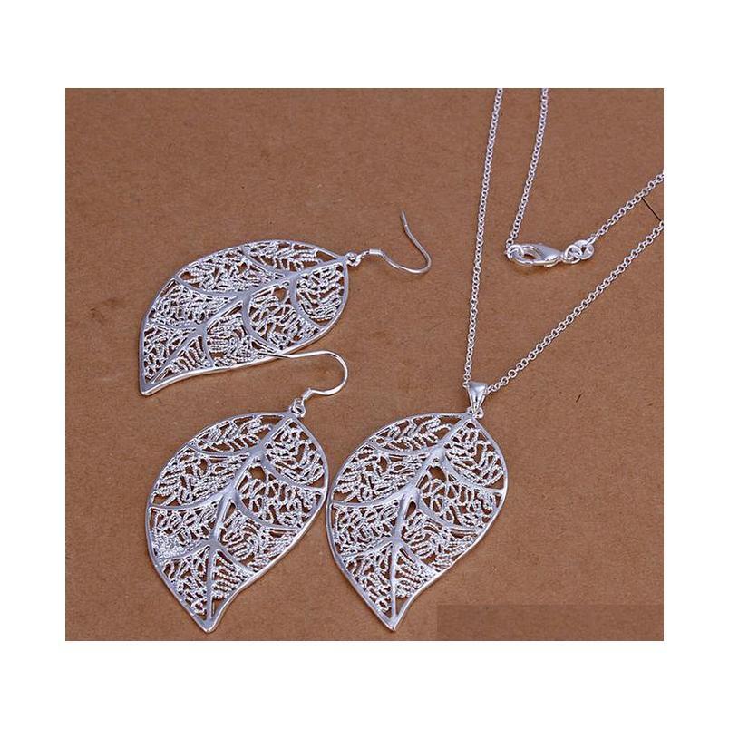 Commercio all'ingrosso - prezzo più basso regalo di Natale 925 sterling argento collana di moda + orecchini set YS180 RTOJM