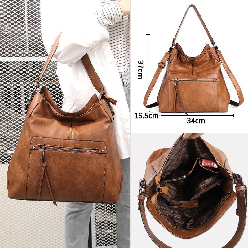 Cobbler Legend Hohe Qualität Pu-Ledertaschen für Frauen Messenger Vintage Damen Schulter Satchel Tasche Große große weiche Tasche Handtasche